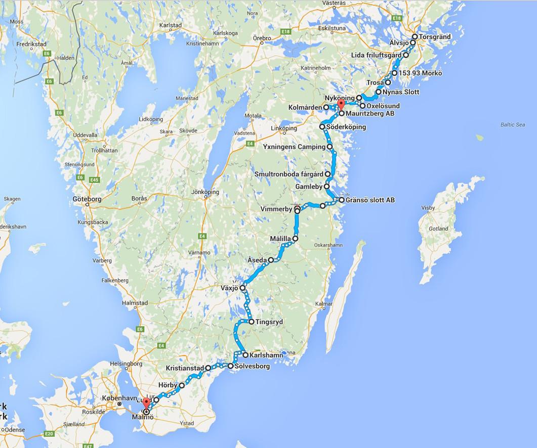 Från Stockholm till Malmö på 34 dagar